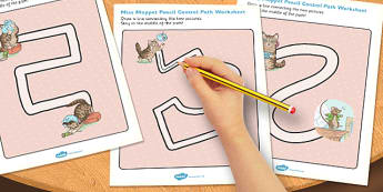 Beatrix Potter - The Story of Miss Moppet Pencil Control Path Worksheets - beatrix potter, story, story book, tale, miss moppet, pencil, control