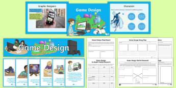 Game Design Resource Pack - Game DesignTechnologies Second LevelGame Design CfECoding,Scottish