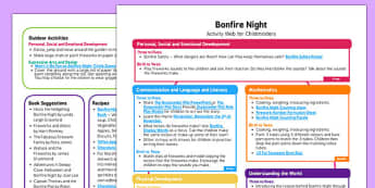 Bonfire Night Activity Web for Childminders  - bonfire night, activity, web, childminders