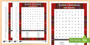 Scottish Celebrations and Events Word Search-Scottish - CfE, calendar events, Scotland, Scottish, traditions, history, celebrations,Scottish