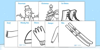 Winter Topic Colouring Sheets -  Arctic, winter, xmas, colouring, fine motor skills, poster, worksheet, skis, ice skates, polar bear, whale, penguin, huskey, snow, winter, frost, cold, ice, hat, gloves