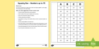 Squashy Boxes Numbers to 70 Craft - squashy box, squashy boxes, squashy, box, boxes, numbers, number, numbers to 70, craft, activity, maths, mathematics