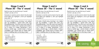 Linguistic Phonics Stage 5 and 6 Phase 3b, 'e' Sound Activity Sheet