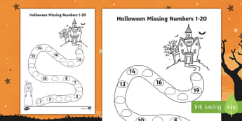 Halloween Spooky House Missing Numbers to 20 Activity Sheet