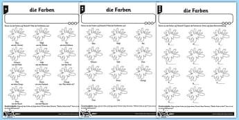 Colours Activity Sheet German - colour, germany, de, deutsch, colours, rainbow, vocabulary, farbe, regenbogen, rot, yello, grun, blau, lila, worksheet