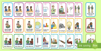 Science KS1 Brag Tags  - award, safety, certificate, experiment, behaviour, scientists, inquiry, skills