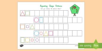 Repeating Pattern (Shapes) Activity Sheet - New Zealand, Maths, Strand, Shapes, Patterns, Worksheets