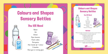 Colours and Shapes Sensory Bottles - colours, shapes, sensory bottle, eyfs, early years