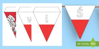 Girlanda Święto Narodowe Trzeciego Maja - maj, maja, konstytucja, konstytucji, patriotyczne, orzeł, orzełek, godło, biało, czerwona, czerw