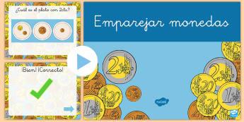 Presentación: Emparejar monedas - dinero, monedas, euros, céntimos, emparejar, presentación, powerpoint, power point, mates, matemá