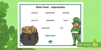 Leprechaun Word Mat Gaeilge - ROI - St. Patrick's Day Resources, Lá Fhéile Pádraig, Gaeigle, Irish , creative writing, scríob