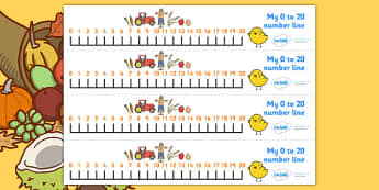 Harvest Number Line (0-20) - Counting, Numberline, Number line, Counting on, Counting back, harvest, harvest festival, fruit, apple, pear, orange, wheat, bread, grain, leaves, conker