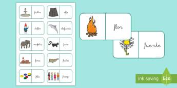 Dominos: La letra F - lecto, leer, lectura, sonidos, letra , lecto-escritura, letra f, fonema f, sonido f, juego,Spanish