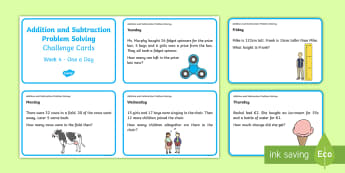 Addition and Subtraction Problem Solving Challenge Cards 4 - ROI Numeracy - Problem Solving,Irish