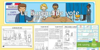 Pack de ressources : Le bureau de vote  - bureau de vote, polling station, élections, elections, vote, cycle2, KS1, cycle3, KS2, candidats, c