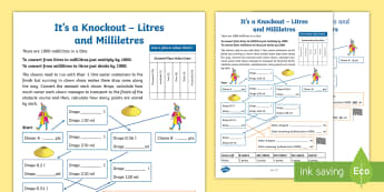 It's a Knockout Activity Sheet - Clowns, capacity, obstacle course, converting measures, litres, mililitres