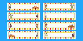 Circus Themed Editable Gratnells Tray Labels - tray label, circus