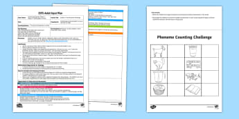 EYFS Builder's Tray Phoneme Challenge Adult Input Plan and Resource Pack - Phase 1 Aspect 7: Oral Blending and Segmenting, letters and sounds, phonics, builder's tray, phonem