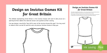 Invictus Games Design a Kit Activity Sheet - KS2 - Invictus Games - 23rd Sept 2017, worksheet, athlete, athletics, sports events