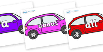 100 High Frequency Words on Cars - High frequency words, hfw, DfES Letters and Sounds, Letters and Sounds, display words
