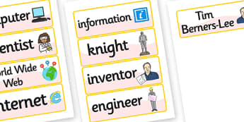 Tim Berners Lee Word Cards - tim berners lee, word cards, keyword