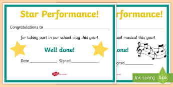 School Performance Award Certificates - ROI Drama, acting, performance, concert, play, reward, certificate, theatre, ,Irish