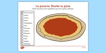 Ficha Diseña una pizza - spanish, design, diseña, pizza, ingredients, ingredientes, worksheet, ficha, cooking