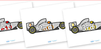 Ordinal Number Posters (Racing Car) - Display posters, counting, 1st, 2nd, 3rd, first, second, third, foundation stage numeracy, ordinal, numeracy, car, racing car