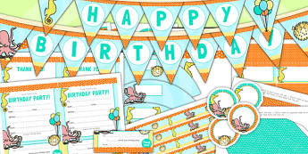 Under the Sea Themed Birthday Party Pack - birthdays, parties