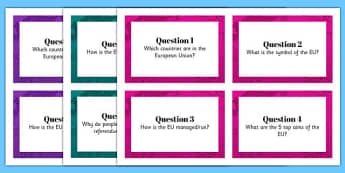 European Union Research Task Cards - european union, referendum, quick, draw, research, task, cards