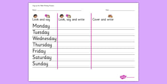 Days of the Week Writing Practice Worksheet - practice, writing