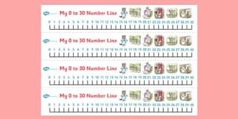 Beatrix Potter - The Tale of Tom Kitten Number Lines 0-30 - beatrix potter, tom kitten