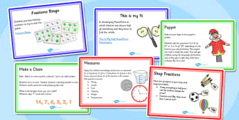 KS1 Fraction Starter Ideas Pack - ks1, starter ideas, fraction, pack