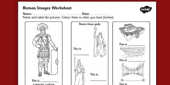 Roman Images Labelling Worksheet - ancient rome, roman worksheet, roman labelling worksheet, roman key words, roman labelling and colouring worksheet, ks2