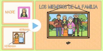 Presentación: Los miembros de la familia - powerpoint, presentación, la familia, familia, familiares, mamá, papá, abuelo, abuela, miembros d