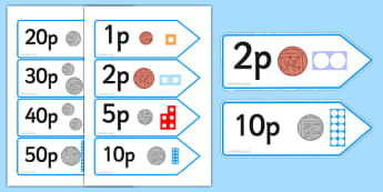 Number Shape Price Labels with Coins - number, shape, labels
