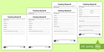 Country Research Differentiated Activity Sheets - UKS2, uks2, ks2, geography, ks2 geography, places, around the world, fact file, ks2 fact file, the w