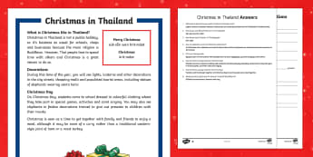 Christmas Around the World: Thailand Differentiated Reading Comprehension Activity-Australia