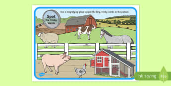 Phase 4 Tricky Words Farm Scene Magnifying Glass Activity Sheet, worksheet