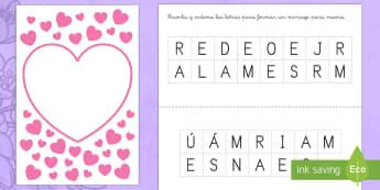 Ficha de actividad: Construir mensajes para mamá - Día de la madre, Mother's day in Spain, mensajes para mamá, recortar letras y pegar, letras, cons