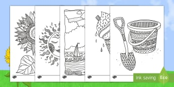Summer Mindfulness Colouring Pages English/Mandarin Chinese - Summer Mindfulness Colouring Sheets - summer, mindfulness, colouring, sheets,mindfullness, colering,