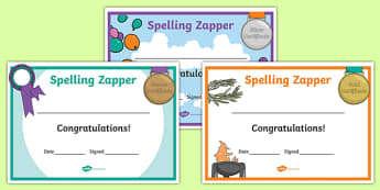Spelling Zapper Certificates - spelling zapper, spell, spelling, zapper, dyslexic, dyslexia, learn, tricky words, personalise, words, certificates, bronze, silver, gold