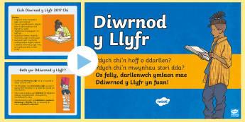 Pŵerbwynt Diwrnod y Llyfr Pŵerbwynt - Diwrnod y Llyfr, World Book Day, Wales, Display, Book, Book day.,Welsh