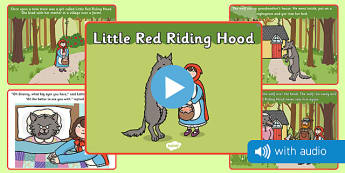 Little Red Riding Hood Audio Narrated Story - little red riding hood, traditional tale, story, tale, traditional, audio, flash cards, reading, listening