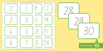 Digit Dot (0-30) Number Cards - New Zealand, maths, number formation, numbers to 30, Years 1-3, age 5