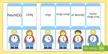Cartes pour jeu de paires : Lire l'heure sur des bonhommes en briques de construction - L'heure,time,cartes, paires, cards, pairs, match, relier