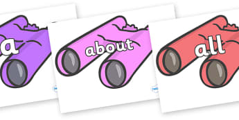 100 High Frequency Words on Binoculars - High frequency words, hfw, DfES Letters and Sounds, Letters and Sounds, display words