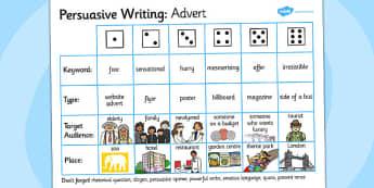 Persuasive Writing Advert Dice Activity - writing aid, persuade