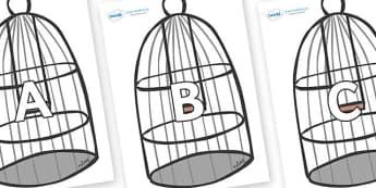 A-Z Alphabet on Cages - A-Z, A4, display, Alphabet frieze, Display letters, Letter posters, A-Z letters, Alphabet flashcards