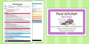 Flower Cakes EYFS Mud Kitchen Plan and Prompt Card Pack - mud kitchen